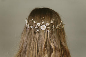 Sylvie gold crystal rustic wedding hair vine comb for the back of the head