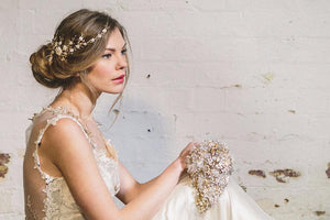 Sylvie gold rustic glamour crystal bridal hairpiece