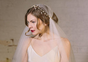 Sylvie antique gold crystal and mother of pearl wedding headpiece
