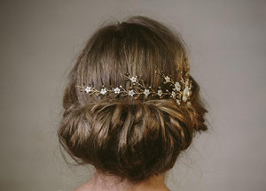 Sylvie gold crystal and mother of pearl bridal hair vine headpiece