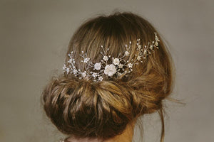 Sylvie silver crystal and freshwater pearl wedding hair vine comb