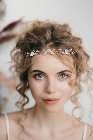 Small silver wedding forehead band