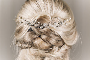 Crystal and pearl bridal delicate half up updo wedding hairvine - Thea
