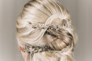 Crystal and pearl bridal delicate half up updo wedding hair vine - Thea