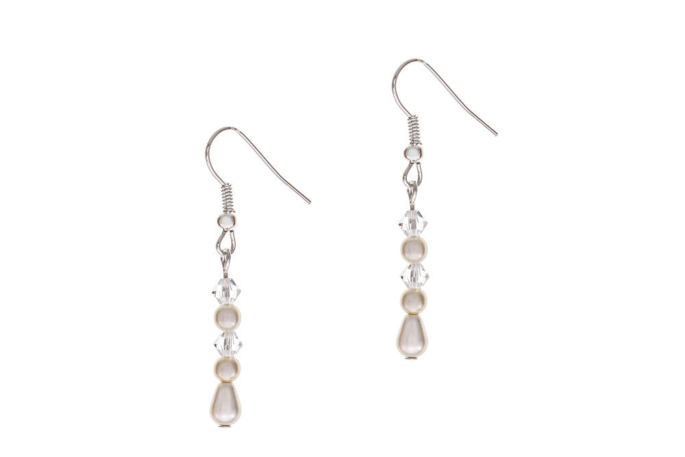 Titania silver pearl and crystal earrings