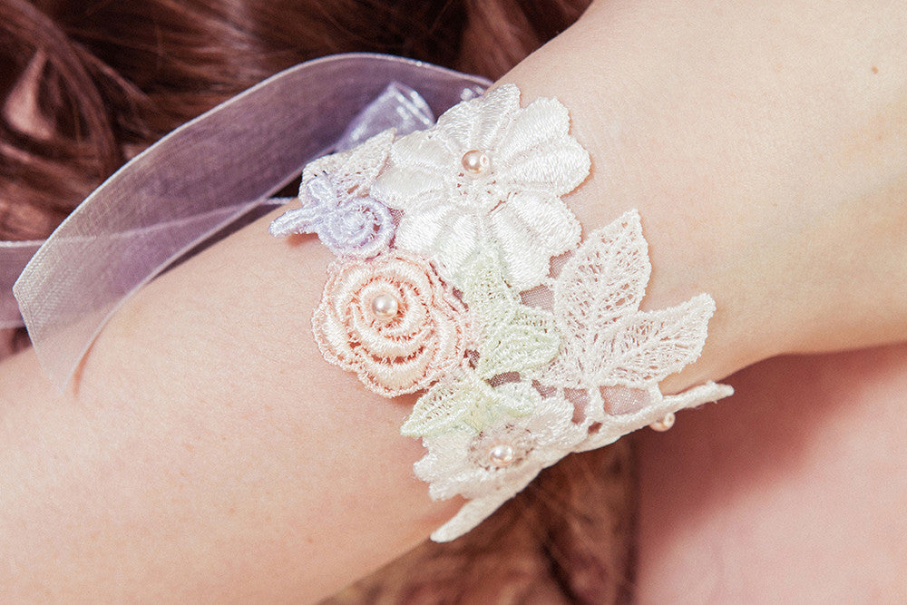 Violet white and pastel floral bridal cuff