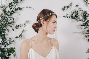 Flower garland pearl and crystal wedding circlet