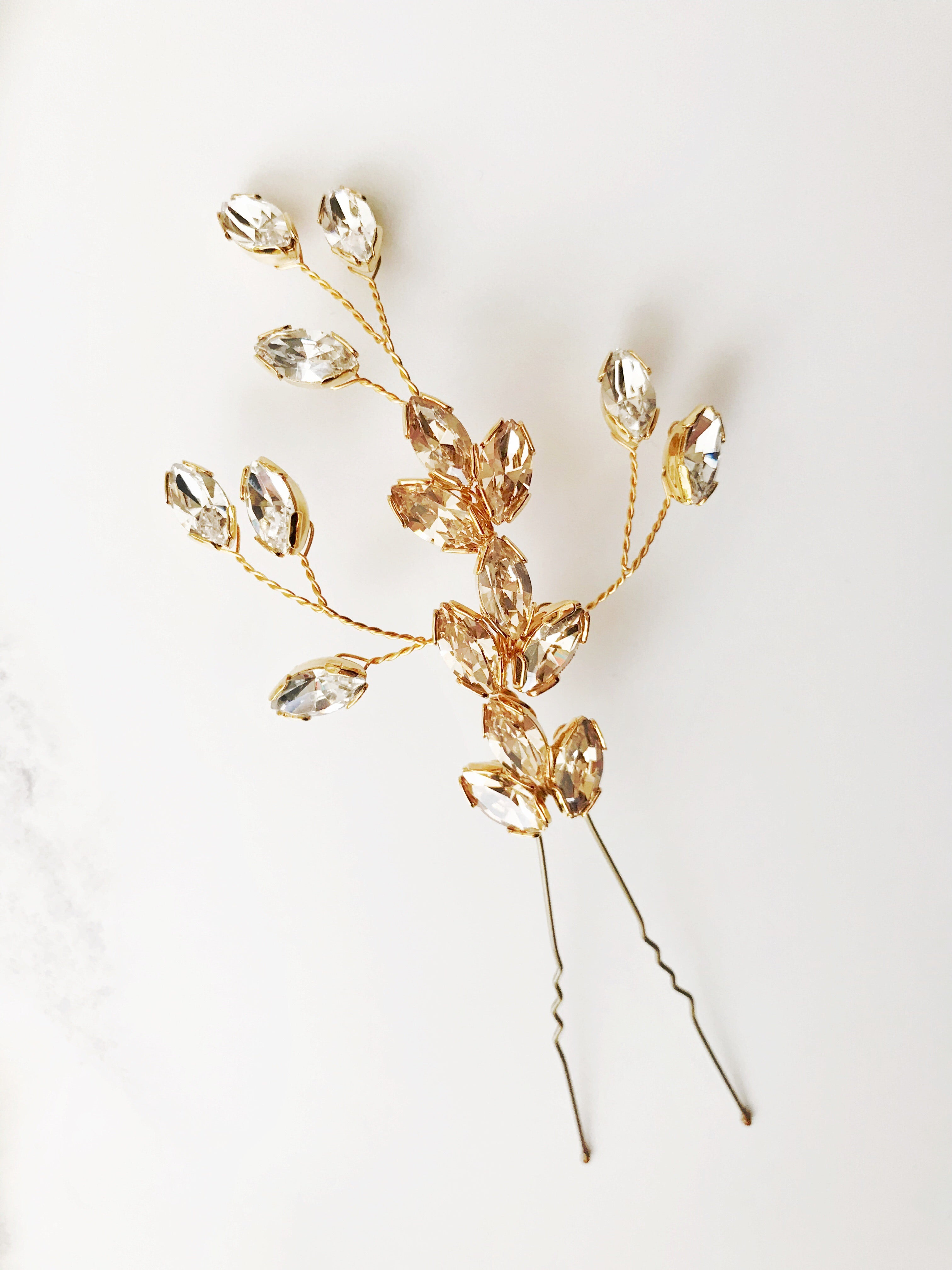 Large Swarovski crystal wedding hair pin in gold - Nova