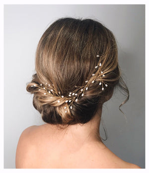 Crystal or pearl botanical branch hair vine for updo or half up wedding hair - Small Rosemary