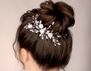 Floral silver updo or half up hairvine in Swarovski crystal and pearl - Stella