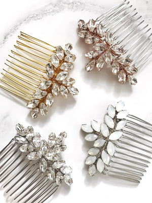 Swarovski crystal wedding hair comb in opal, silver, rose gold or gold - Luna