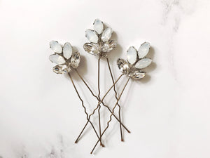 Swarovski crystal bridal hair pin trio in opal - Lyra