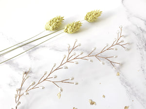 Gold pearl botanical branch hair vine for updo or half up wedding hair - Small Rosemary