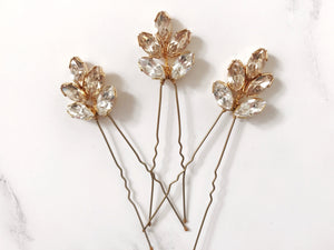 Swarovski crystal bridal hairpin trio in gold - Lyra