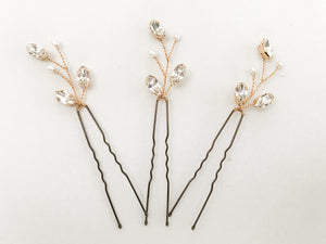 Rose gold, silver or gold Swarovski crystal wedding hairpins - India