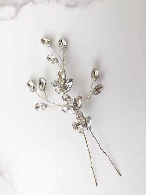 Large Swarovski crystal wedding hair pin in silver - Nova