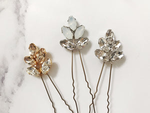 Swarovski crystal bridal hair pin trio in opal, rose gold, silver or gold - Lyra
