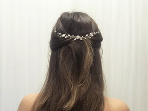 Silver crystal and pearl wedding hair vine - Thea