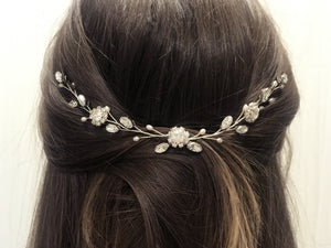 Silver crystal and pearl bridal hair vine - Thea
