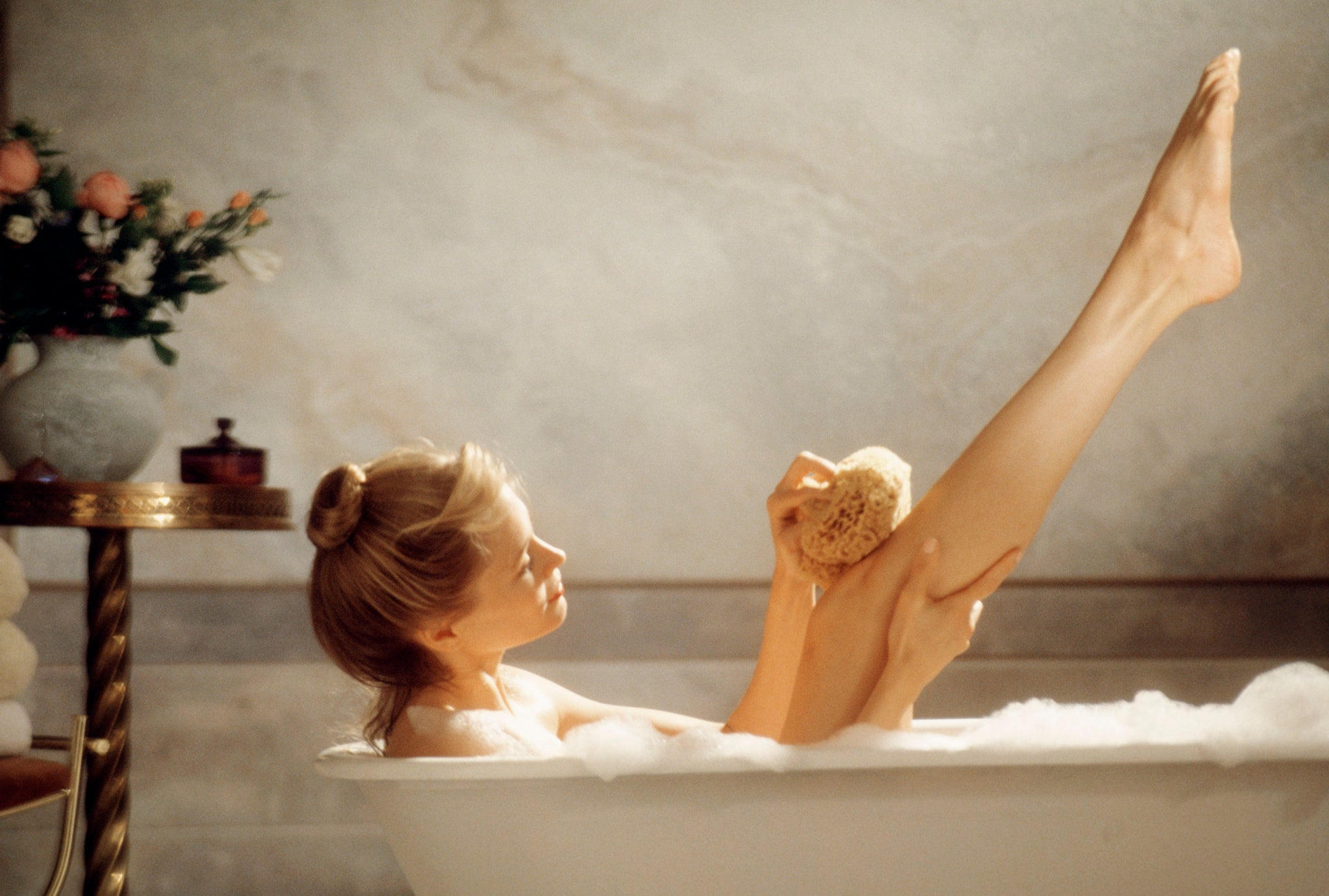Girl in a bubble bath