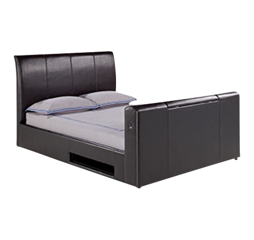 Brooklyn Faux Leather TV Bed - Black Super King