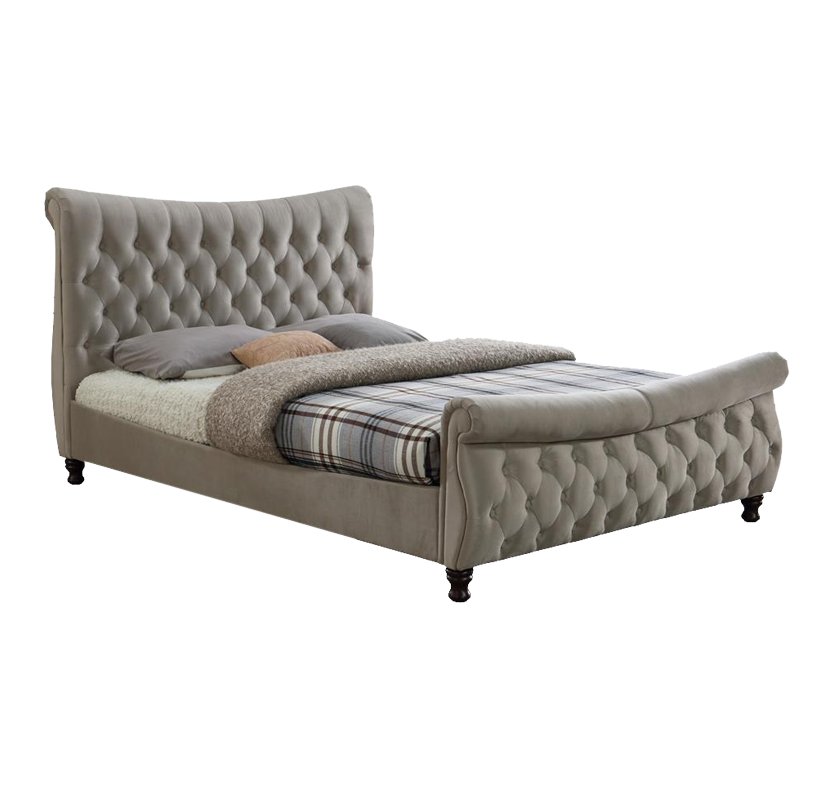 Bornholm Fabric Sleigh Bed - Oatmeal Super King