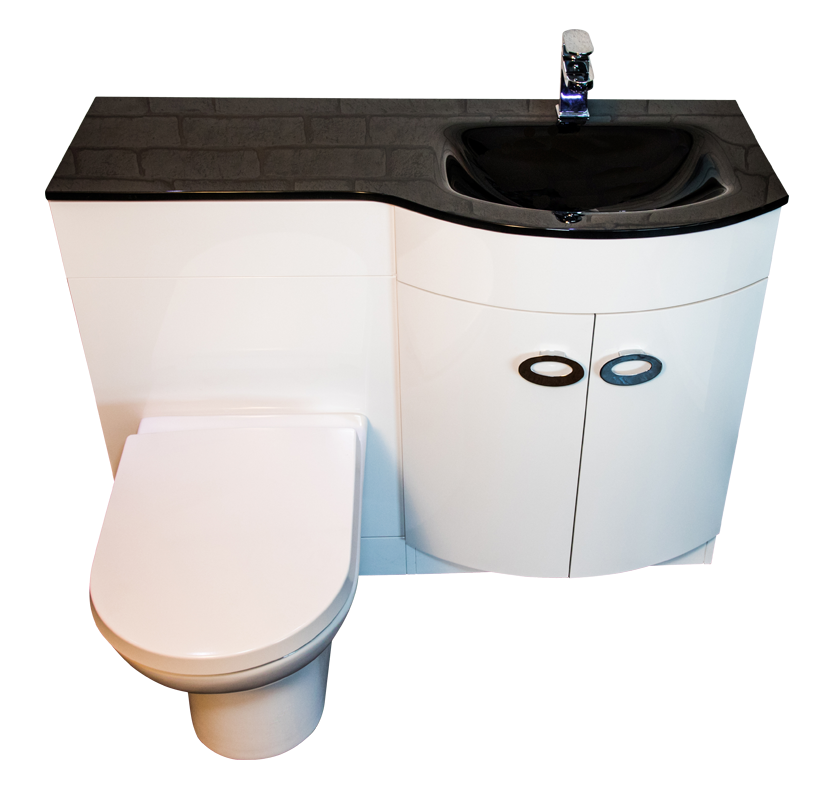 Curve Right Hand Vanity and WC Unit with Madison Toilet - Black Glass