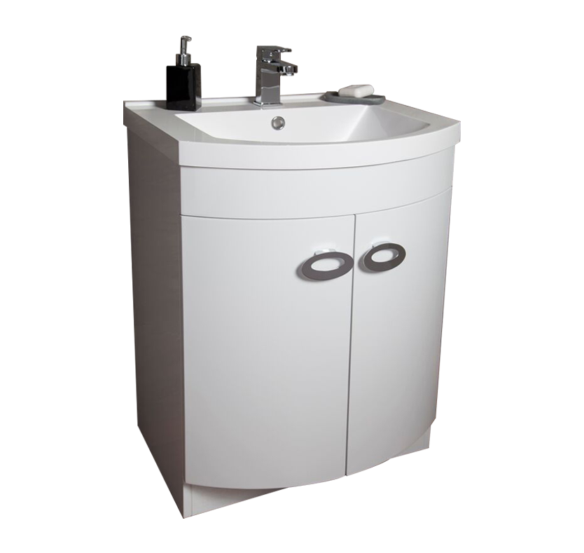 Curve 600mm Sink And Vanity Unit Gloss White