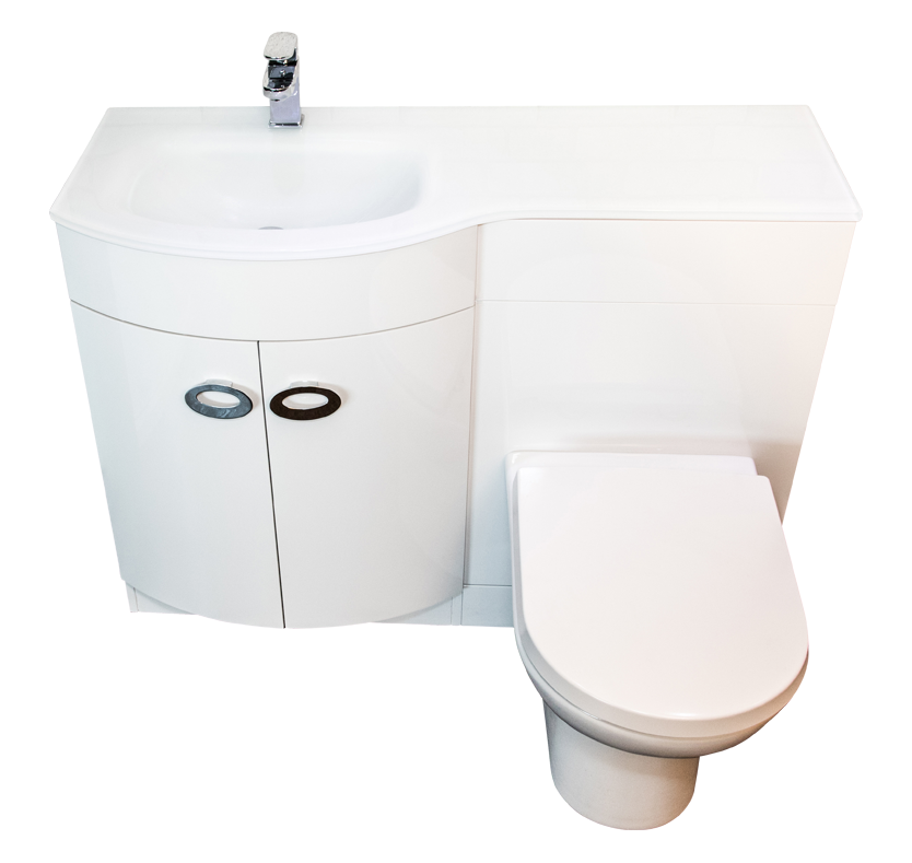 Curve Left Hand Vanity and WC Unit with Madison Toilet - Polymarble