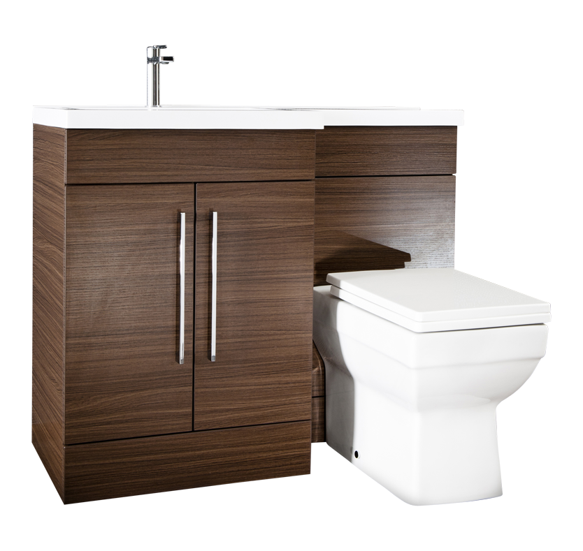 iSpace Left Hand Vanity and WC with Vermont Toilet  Walnut