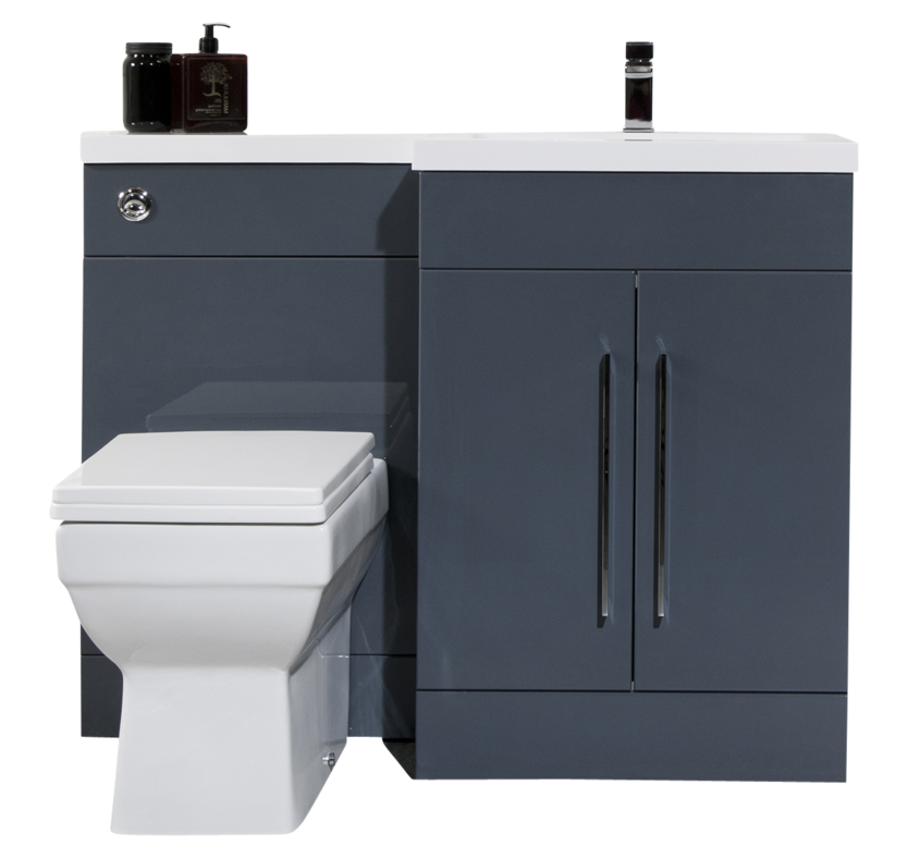 iSpace Right Hand Vanity and WC Unit - Anthracite
