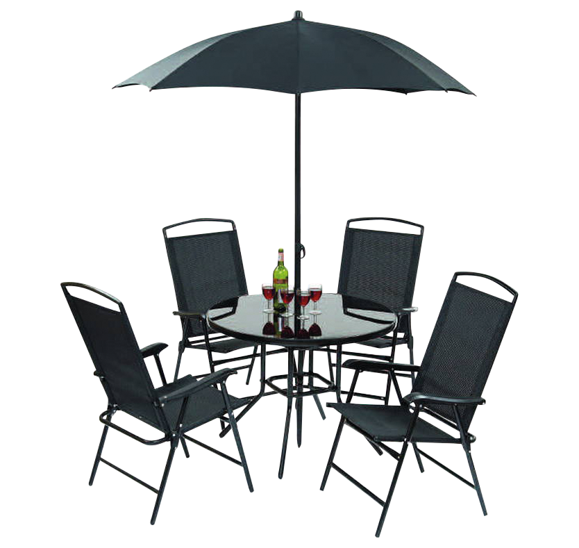 Cannes 4 Seat Patio Set with Parasol - Black