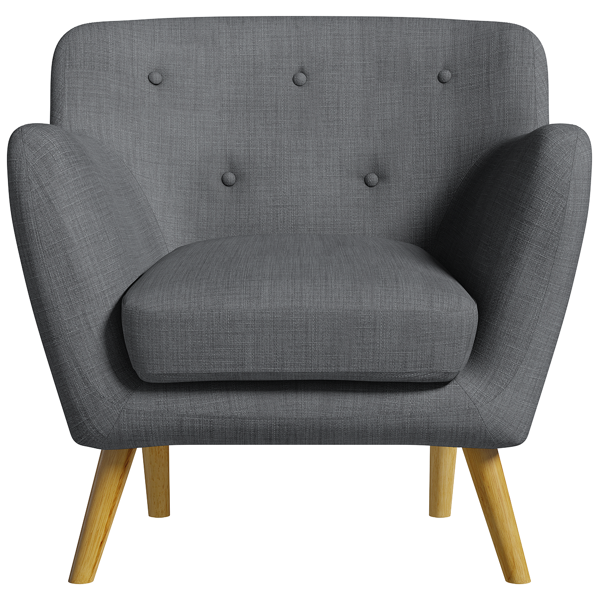 Holborn Armchair - Charcoal with Light-Coloured Legs
