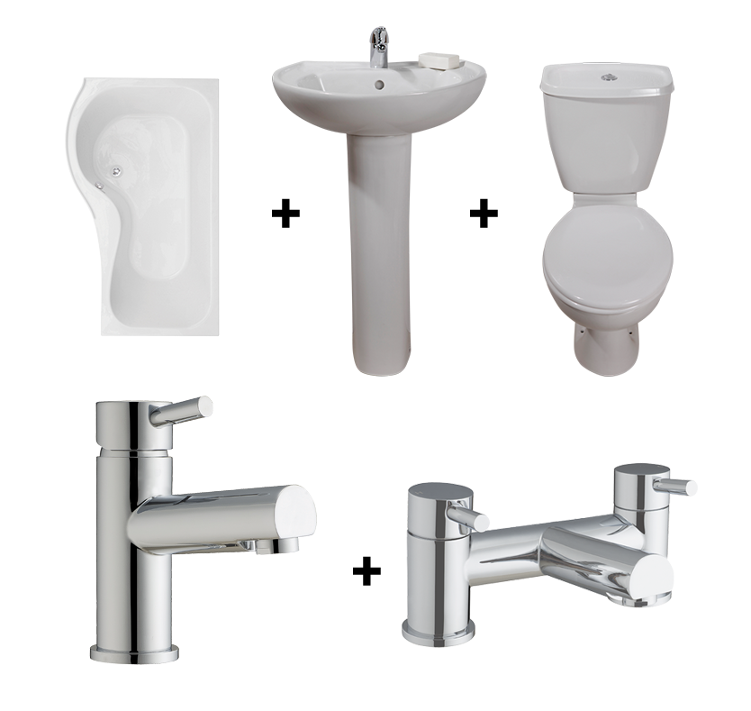 Classic PShaped Shower Bath Suite with LeftHand Bath