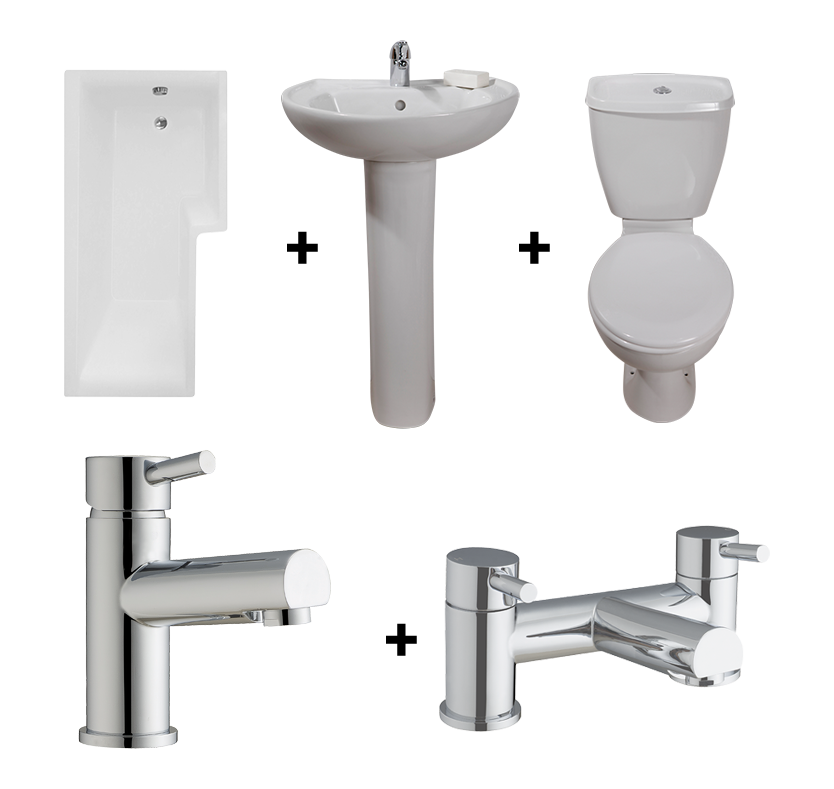 Classic LShaped Shower Bath Suite with RightHand Bath
