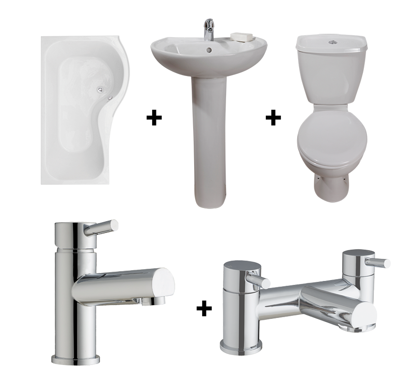 Classic PShaped Shower Bath Suite with RightHand Bath