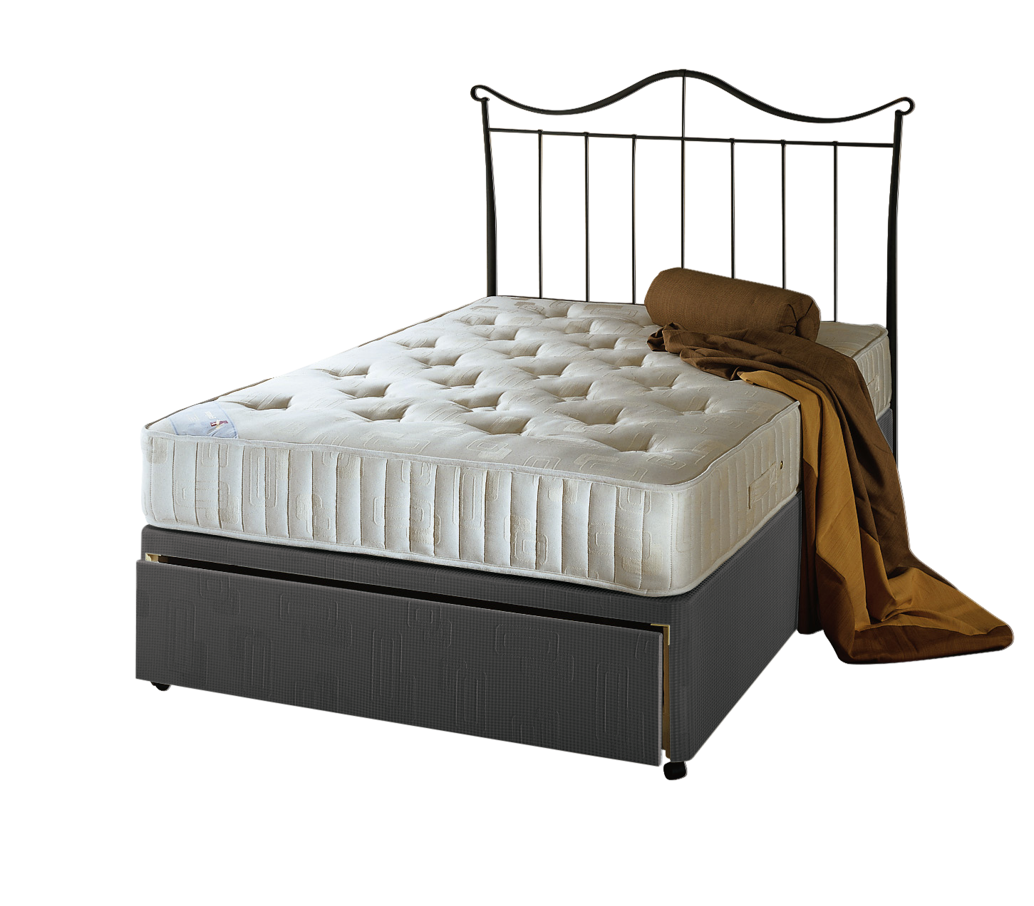 Dalton damask divan set grey single for Single divan bed without mattress