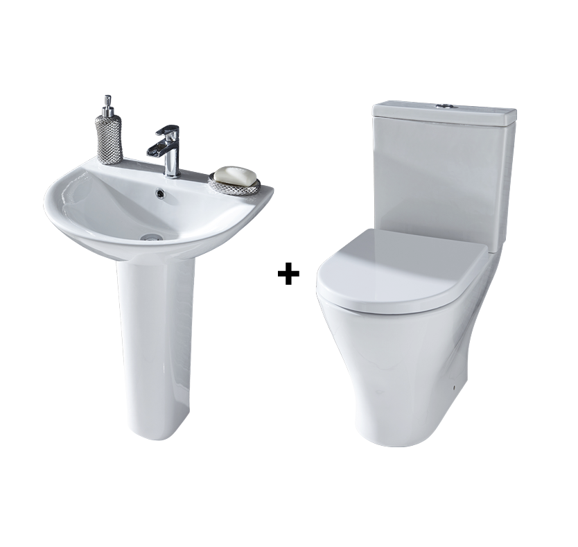 F60 Milano Full Pedestal Basin and Toilet Suite
