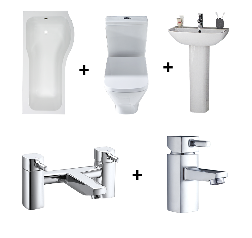 F60 Moda PShaped Shower Bath Suite with RightHand Bath