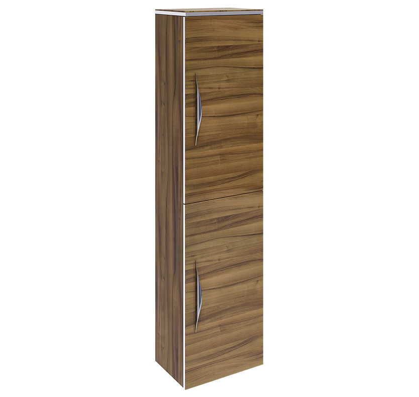 Hudson Reed Memoir Gloss Walnut Tall Wall Unit With Single Door (Gloss Walnut)