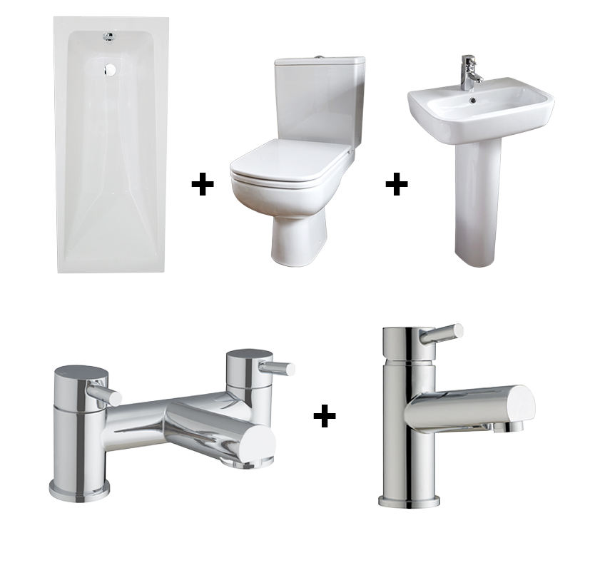 Flexi Bathroom Suite with Square Single-Ended Bath