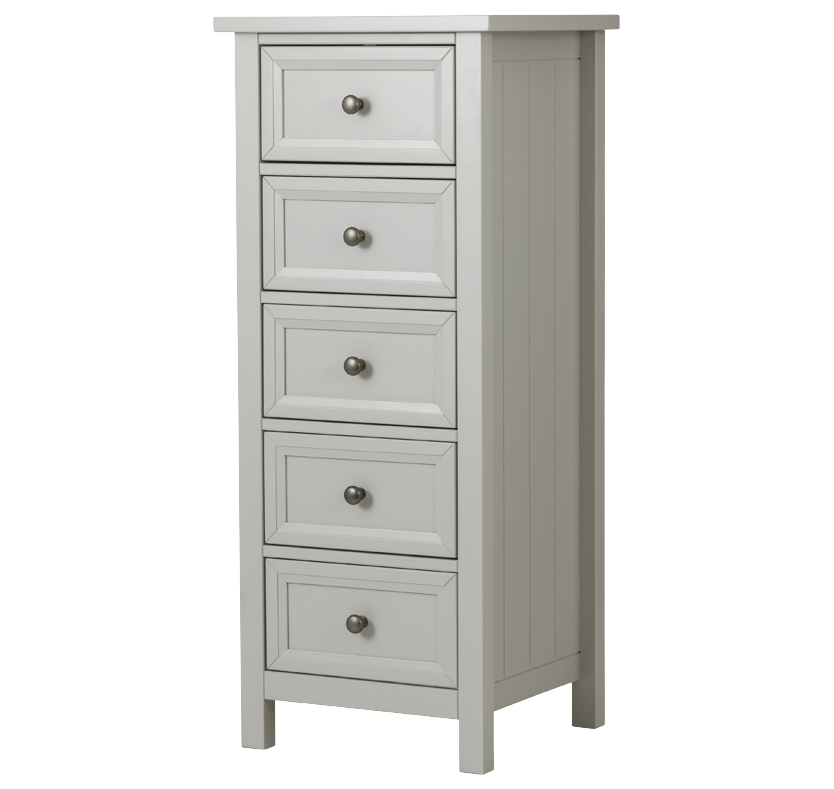 Hartford 5 Drawer Tall Chest - Dove Grey