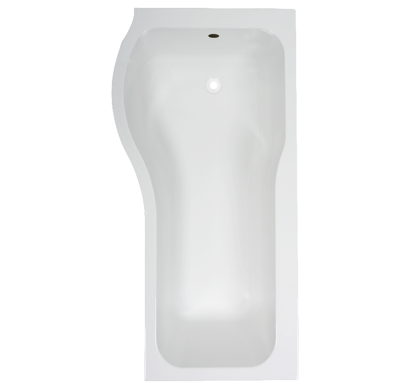Deluxe Left-Hand P-Shaped Shower Bath with Front Panel and Screen - 1700mm