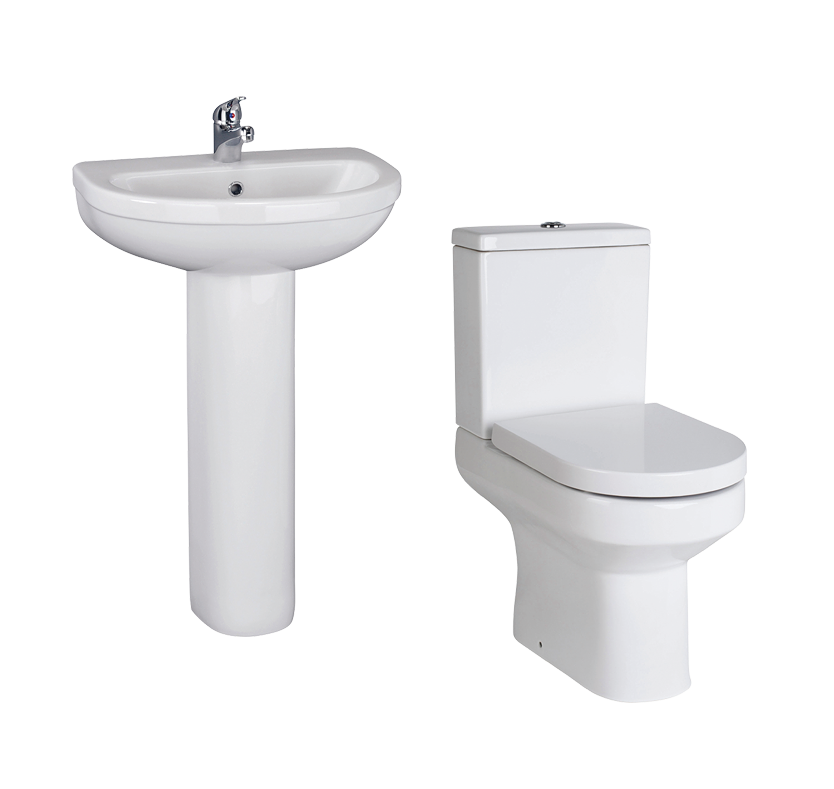 Madison Close Coupled Toilet and Full Pedestal Sink Set
