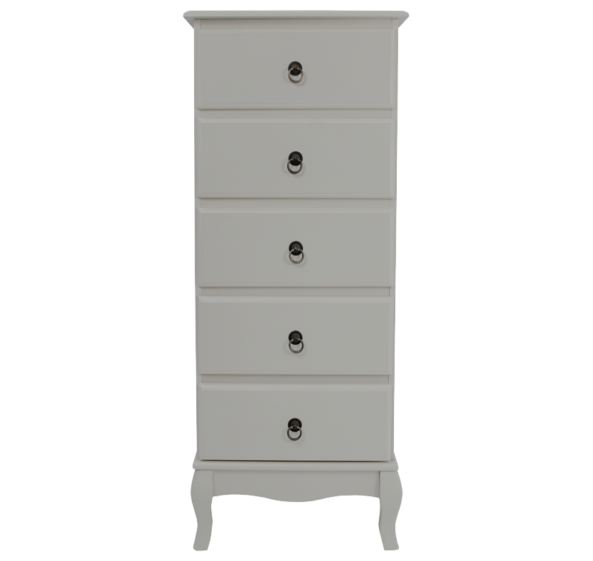 Mathilde 5 Drawer Tall Chest - Soft Grey