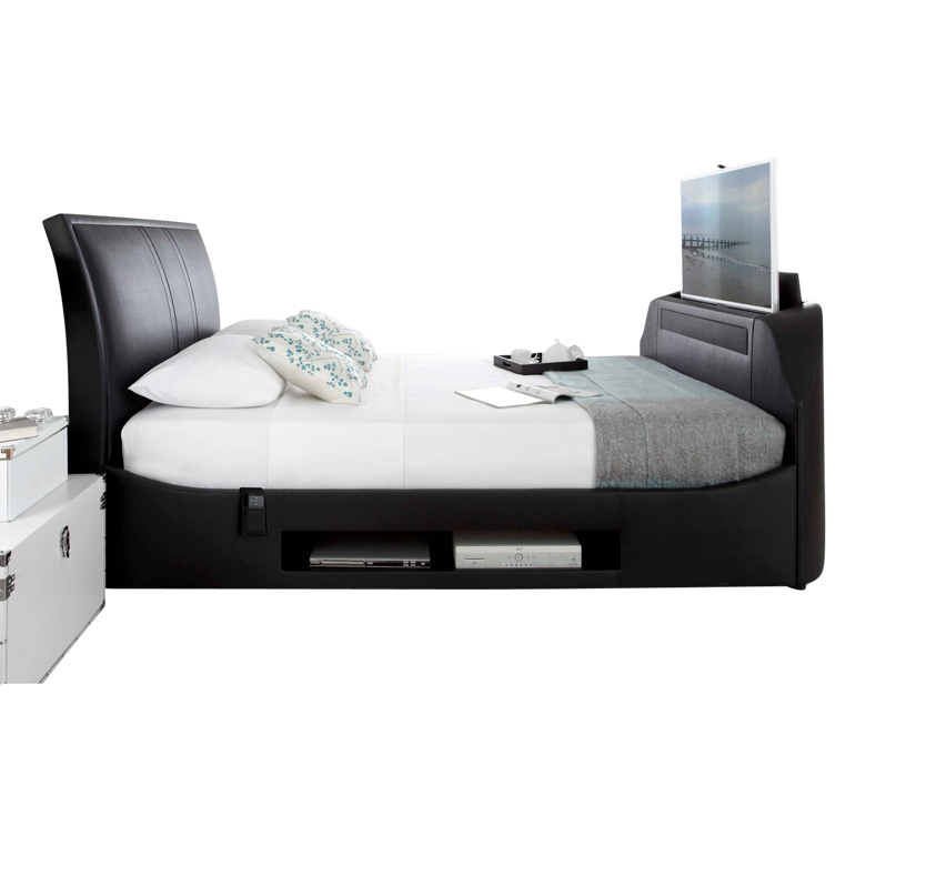 Mazza TV and Sound Bar Fabric Bed  Black Super King