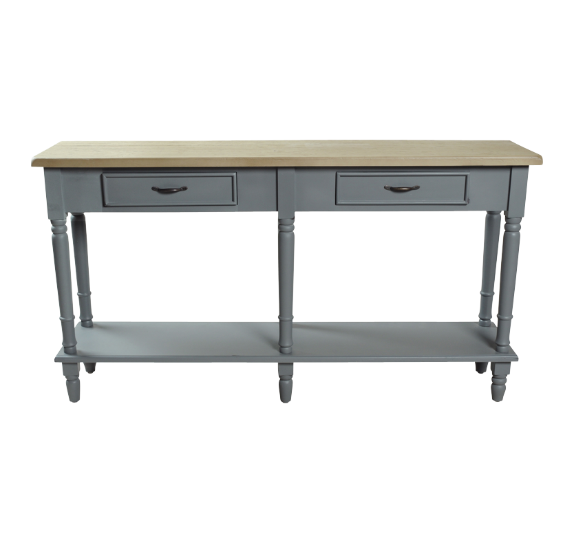 minister 2 drawer console table with shelf. Black Bedroom Furniture Sets. Home Design Ideas
