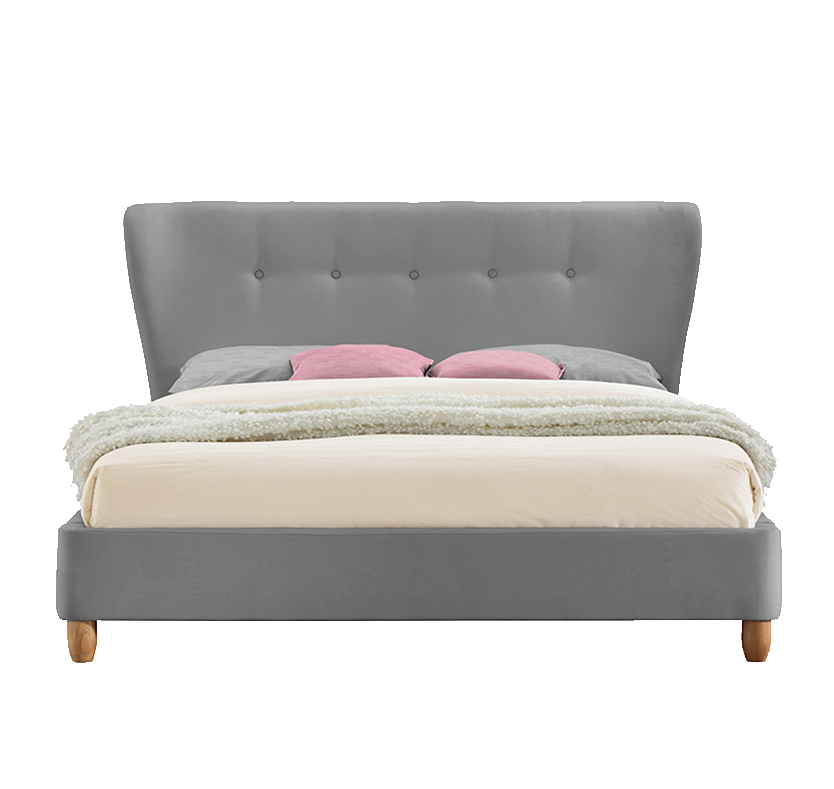 Sophia Fabric Double Winged Bed - Grey