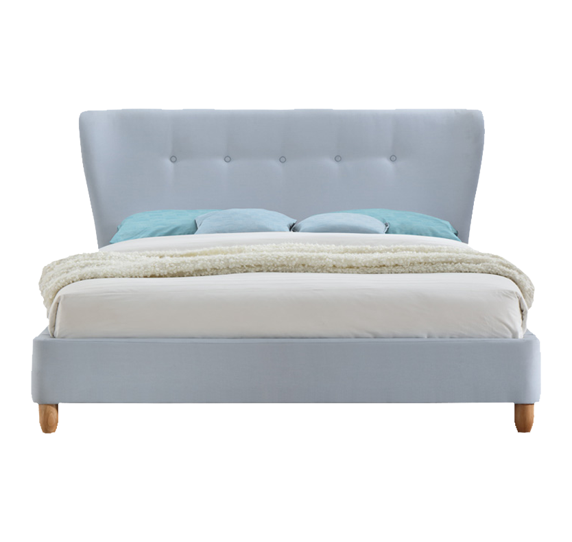Sophia Fabric Winged Bed - Sky Blue King Size