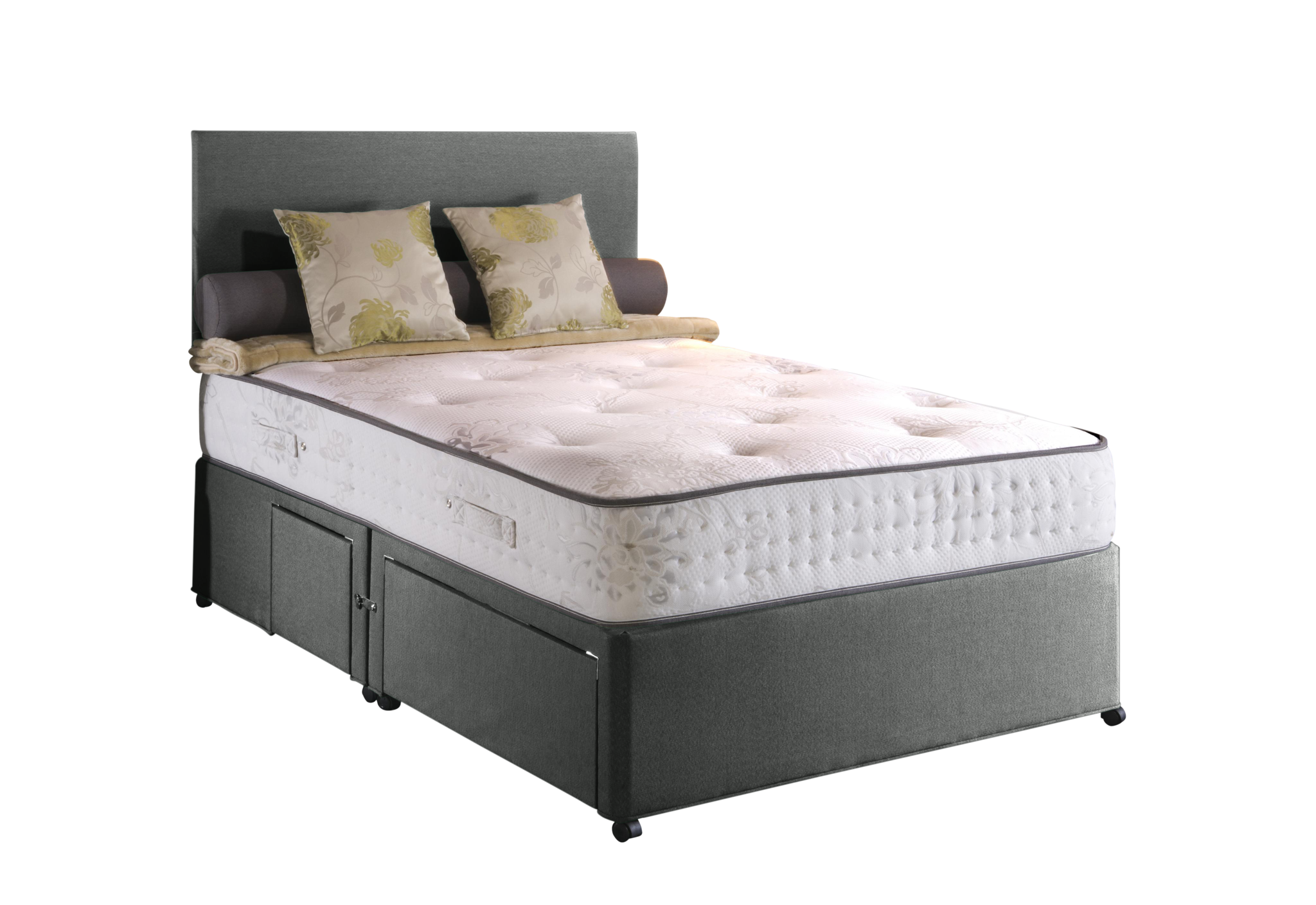 Kenneth Damask Divan Set - Grey Double